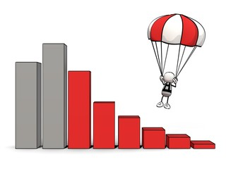 little sketchy man with red  parachute and downtrend bar chart