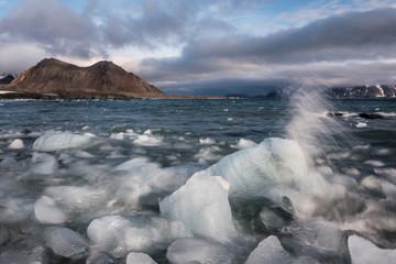 Glacier ice in the Arctic fjord - landscape