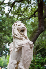 Stone Lion Statue in Savannah Park