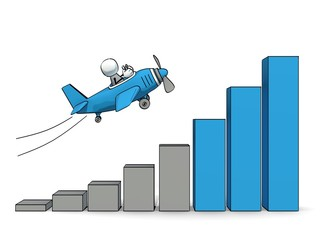 little sketchy man in plane flying up an increasing a bar chart
