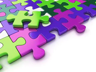 colorful puzzle pieces. close up. 3d illustration