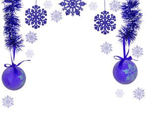 half frame from blue christmas tree decorations on white