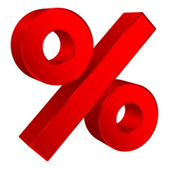 Sale Red Percent Sign 3D Angled