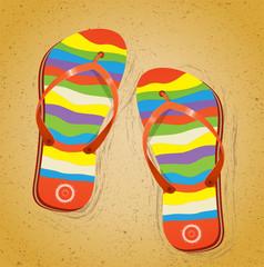 Beach slippers on sand. Illustration 10 version