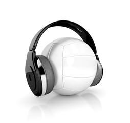 volleyball (handball) ball with headphones. 3d illustration