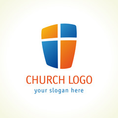 Cross on the shield church logo