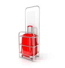 red cabin baggage in allowed dimensions. 3d