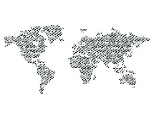 Dotted Map of the World Continents Random Gray