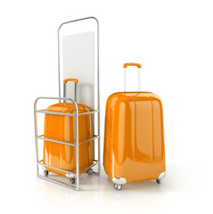 orange cabin baggage in allowed dimensions. 3d illustration