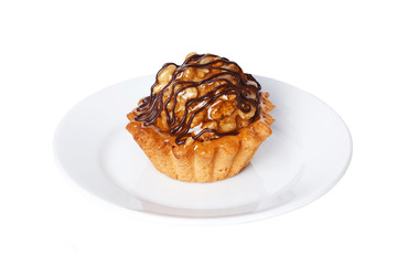 pastry tartlet with walnut caramel and chocolate