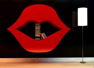 3d illustration of Bookshelf in shape of lips.