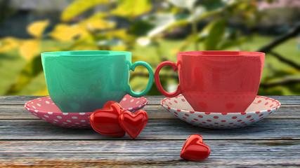 Retro vintage cups, instagram filters