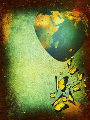 Grunge background-planet Earth
