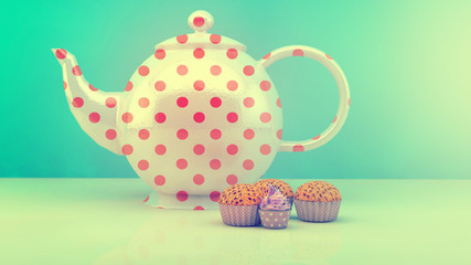 Sweet and colourful teapot and cupcakes