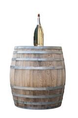 Weißweinflasche und Holzfass