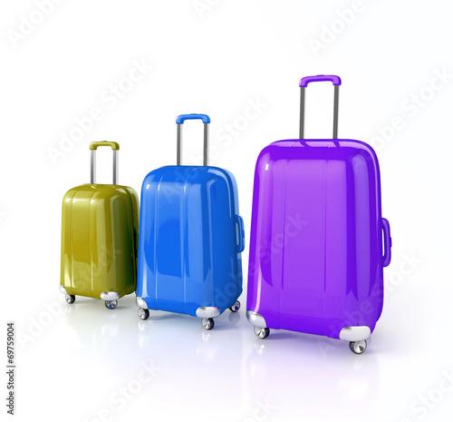 Leinwandbild Motiv suitcase isolated on white. 3d illustration