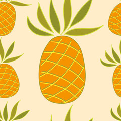 Seamless pattern with pineapple on a light background