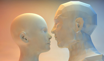 3D stylized woman and man head -technology concept