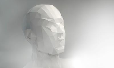 3D stylized man head, low poly