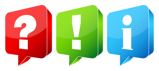 Speech Bubbles Question, Answer & Information 3D