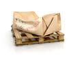 Cardboard damaged package on wooden pallet