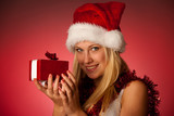 Attractive young blonde woman in santa claus dress - christmass