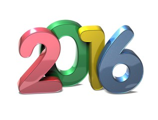 3D Year 2016 on white background