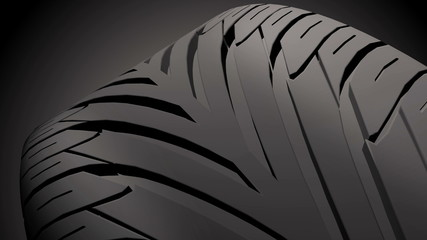 Close up on a car tire in motion