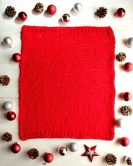 Christmas ornaments with red knitted fabric