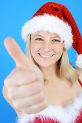 Weihnachtsmann hält Daumen hoch