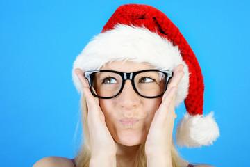 Lustiger Weihnachtsmann mit Brille