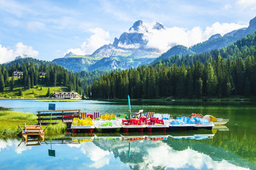 Colorful pedalos on the Lake Misurina, Dolomites