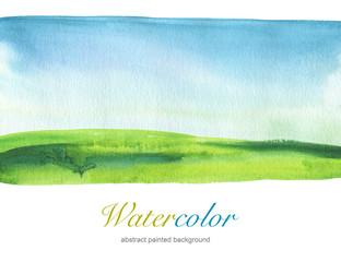 Abstract watercolor hand painted landscape background. Textured
