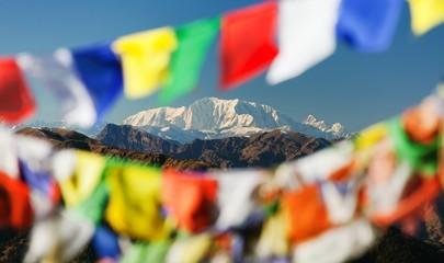 Mount Saipal with prayer flags