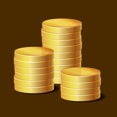 Stacks of Golden Coins on Dark Background. Vector