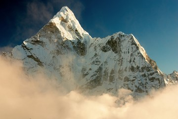Evening view of Ama Dablam with beautiful cloud