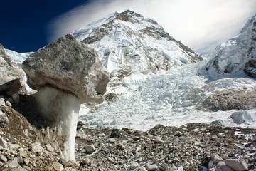 Bizarre mushroom on a glacier on the way to Everest Base Camp