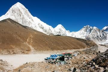 Gorak Shep village and Kala Patthar view point on Everest