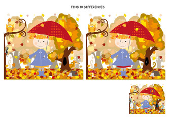 find 10 differences, with solution - autumn/ little gril