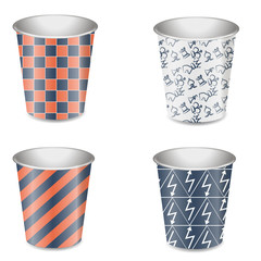 Several paper cups with the original design