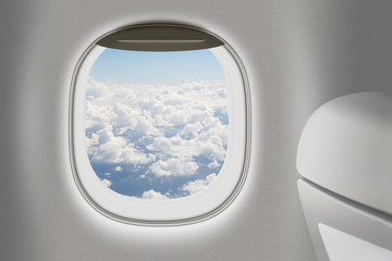 Aeroplane or jet interior with window and chair as traveling con