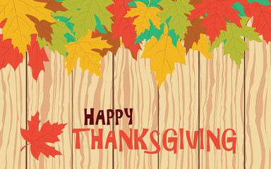 Thanksgiving with leaves on wooden plank, vector card