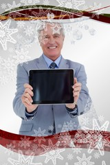 Tradesman presenting screen of his tablet computer