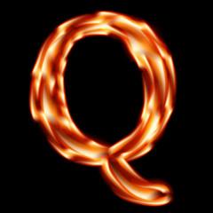 Fiery font. Letter Q - EPS 10