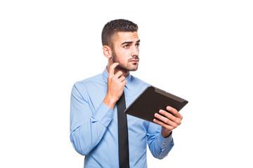 elegant handsome man using a tablet