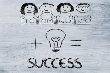 good ideas and teamwork, the key to success (mixed gender versio