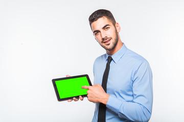 elegant handsome man showing a tablet