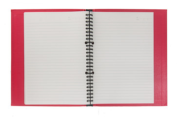 Blank notebook open on white background