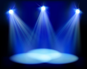 Spotlights on the stage. Vector illustration.