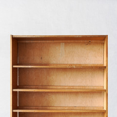 empty old retro wooden book shelf